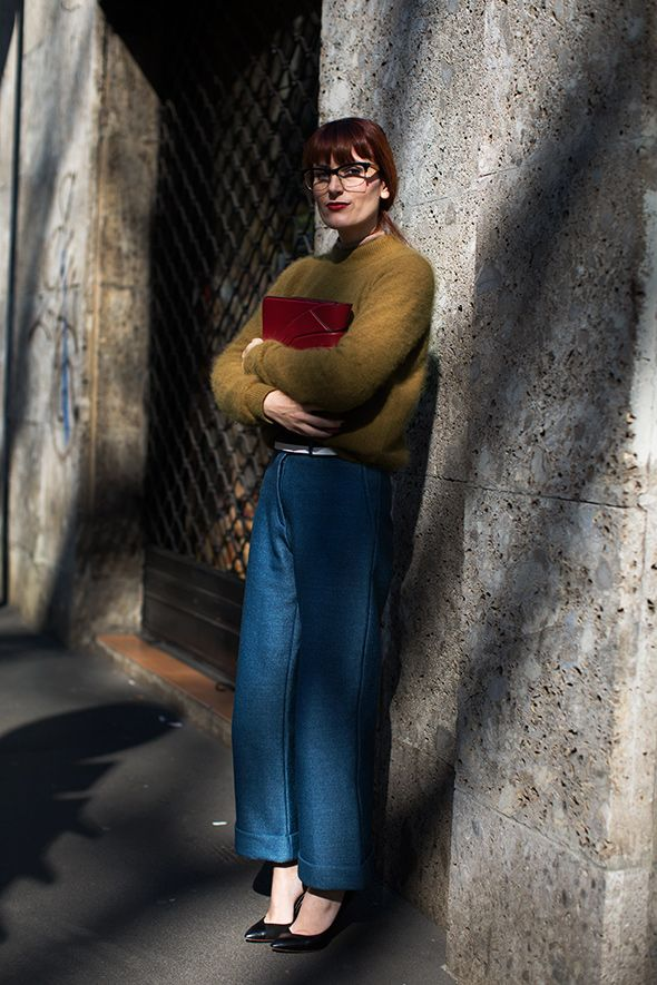 On the Street…Viale Piave, Milan  Wide-legged pants are a tough proportion for me, but she looks very chic.