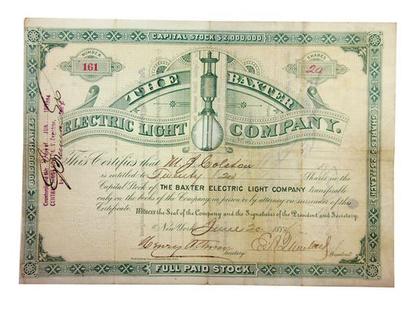 Baxter Electric Light Co., 1884 I/U Stock Certificate. - New York, NY. 20 Shares, I/U, Green on light beige underprint, early electric light bulb in center, S/N 161, Fine/VF condition with 4 small pin holes UL and 2 small internal 3mm tears, all difficult to view. Scarce and attractive stock certificate. #Stock/ShareCertificates #MADonC