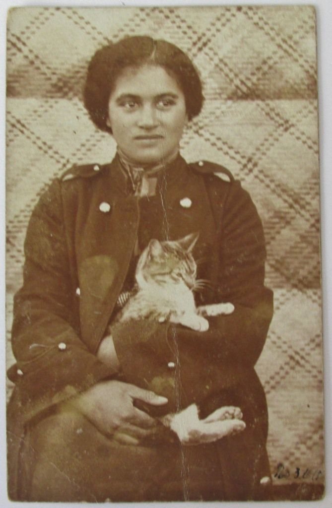 Maori warden with feline , divided back unused , 1910 ?