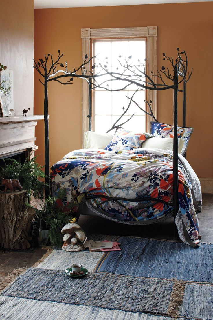 Anthropologie home decor bedroom tree bed frame for Anthropologie mural