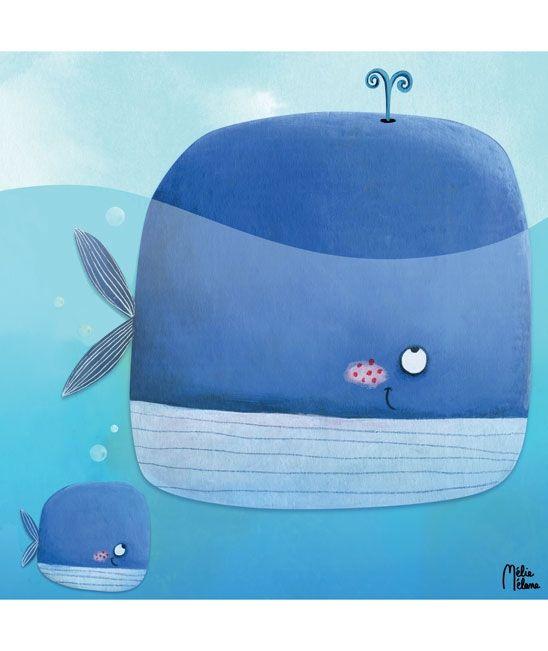 Tableaux chambre d'enfant et bébé : Baleine et baleineau