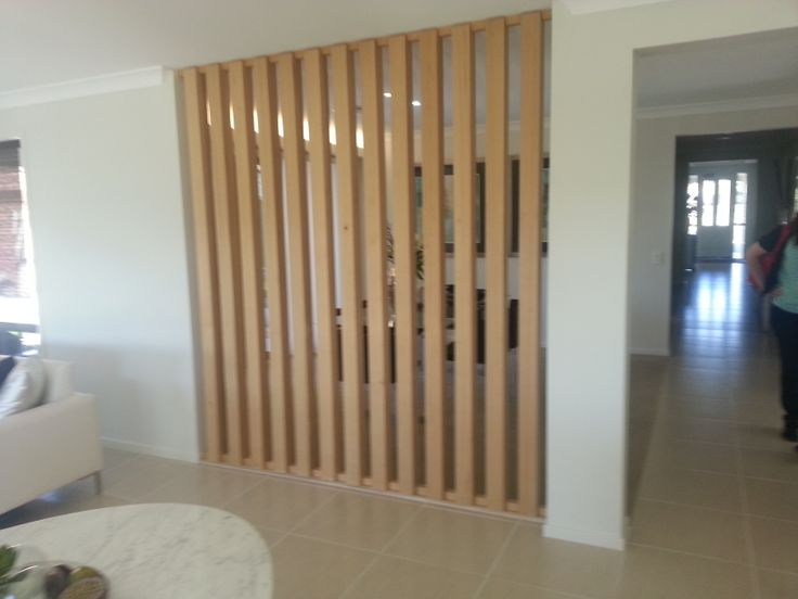 Timber screen separating areas.
