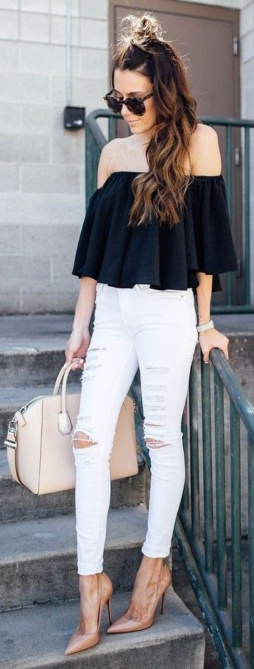 Black Off The Shoulder Top + White Distressed Denim                                                                             Source