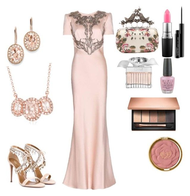 """""""Untitled #11"""" by evelin-pap on Polyvore featuring Clarins, MAC Cosmetics, Chloé, OPI, Alexander McQueen, Milani, Kevin Jewelers, Aquazzura, Ross-Simons and women's clothing"""
