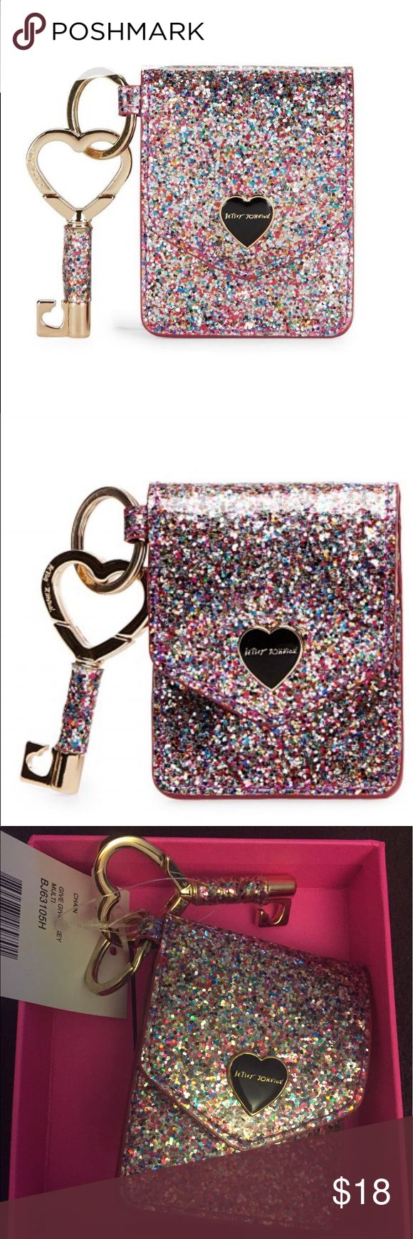 Betsey Johnson glitter key holder fob!!! Betsey Johnson swivel key chain/ holder/ Fob in multicolored glitter. Gold interior with 3 slots for cards & license & hook to attach to handbag. Betsey Johnson Accessories Key & Card Holders