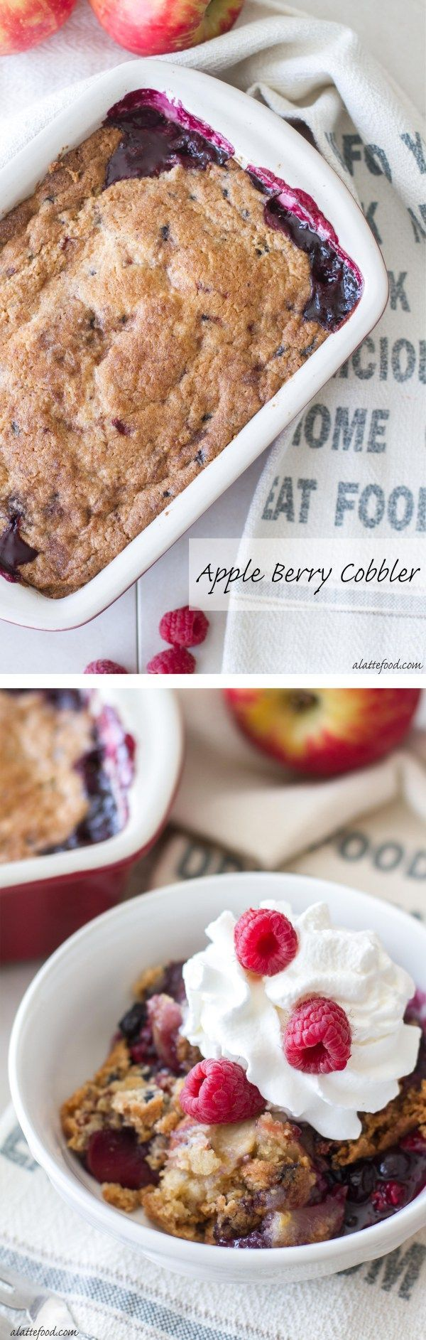 Apple Berry Cobbler | This easy cobbler recipe is full of juicy apples, mixed berries, and topped with a sweet and simple cobbler muffin mix topping!