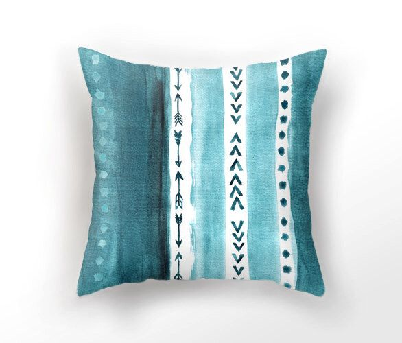 DECORATIVE THROW PILLOW, teal blue pillow case, watercolor throw pillow,  aquarelle minimalist pillow, sea blue cushion cover, arrow pillow by UniqueArtHome on Etsy https://www.etsy.com/listing/226671771/decorative-throw-pillow-teal-blue-pillow