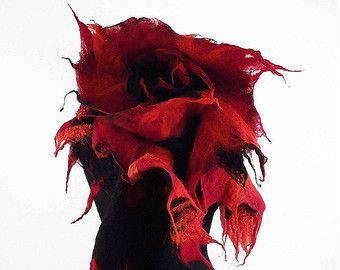 La bufanda bufanda de fieltro Nuno fieltro cabo de bufanda de fieltro, bufanda roja, fieltro lana, bufanda, tela de fieltro, fieltro Nuno, fieltro de lana de seda