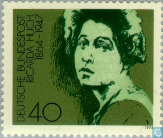 Ricarda Huch ( 1864 – 1947) was a pioneering German intellectual.  Asteroid 879 Ricarda is named in her honour.  Germany Stamp ,1975