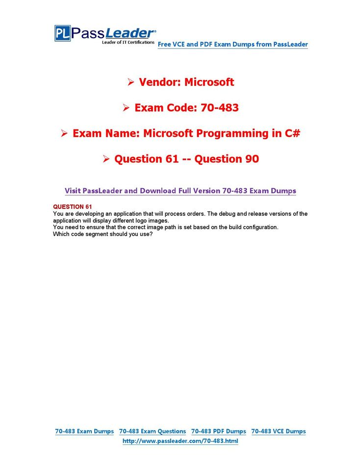 70-483 Exam Dumps with PDF and VCE Download (61-90)