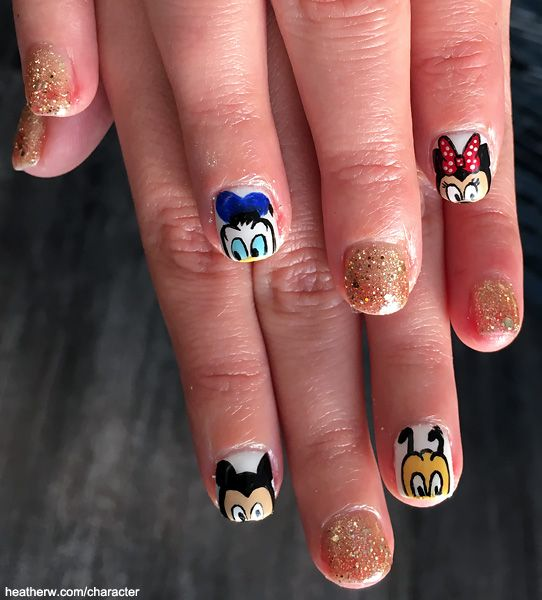 Mickey Mouse, Minnie Mouse, Donald Duck, Pluto, and gold glitter Nails - Walt Disney World Marathon Weekend