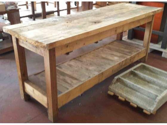 Banco bancone tavolo da lavoro in legno piano con 5 doghe - Tavolo da lavoro con ruote ...