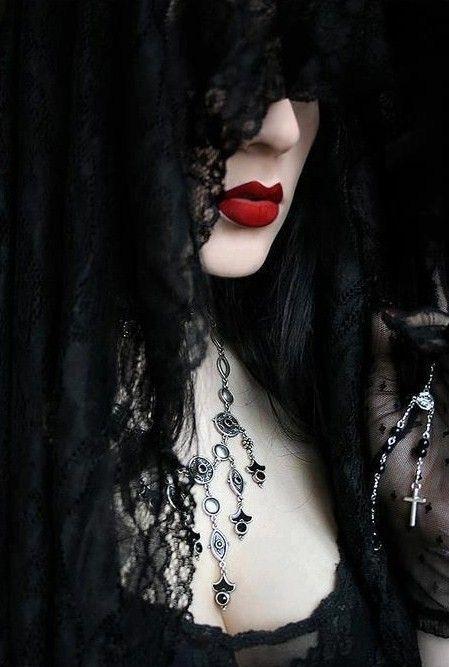 Mysterious gothic fantasy fashion style