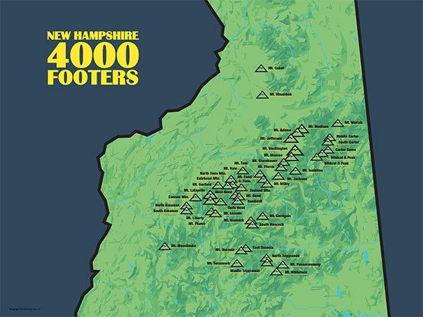 New Hampshire 4000 Footers Map Poster