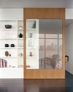 sliding door that becomes a cabinet front too