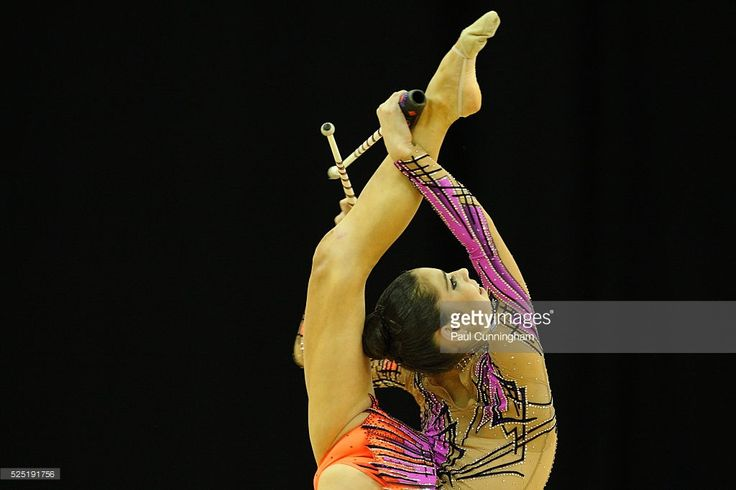 Visa Federation of International Gymnastics (FIG) - Victoria Veinberg Filanovsky of Israel performs with the Clubs during the Women's Rhythmic Olympic qualification event at the O2 Arena London 17 January 2012 --- Image by �� Paul Cunningham/Corbis