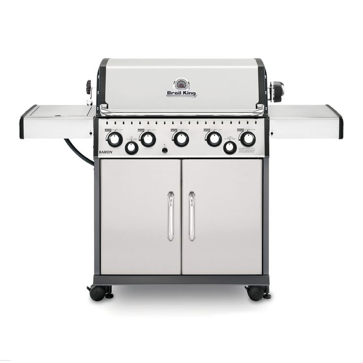 Broil King Baron Stainless Steel, Black, and Black Chrome 5-Burner (50,000-BTU) Natural Gas Grill with Side and Rotisserie Burners