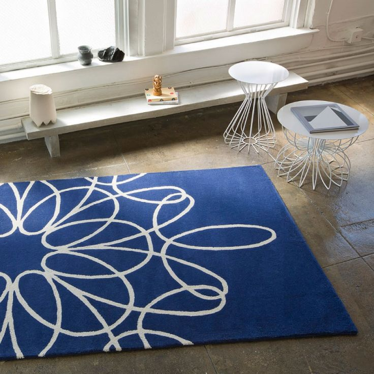 White And Blue Area Rug With Ornament