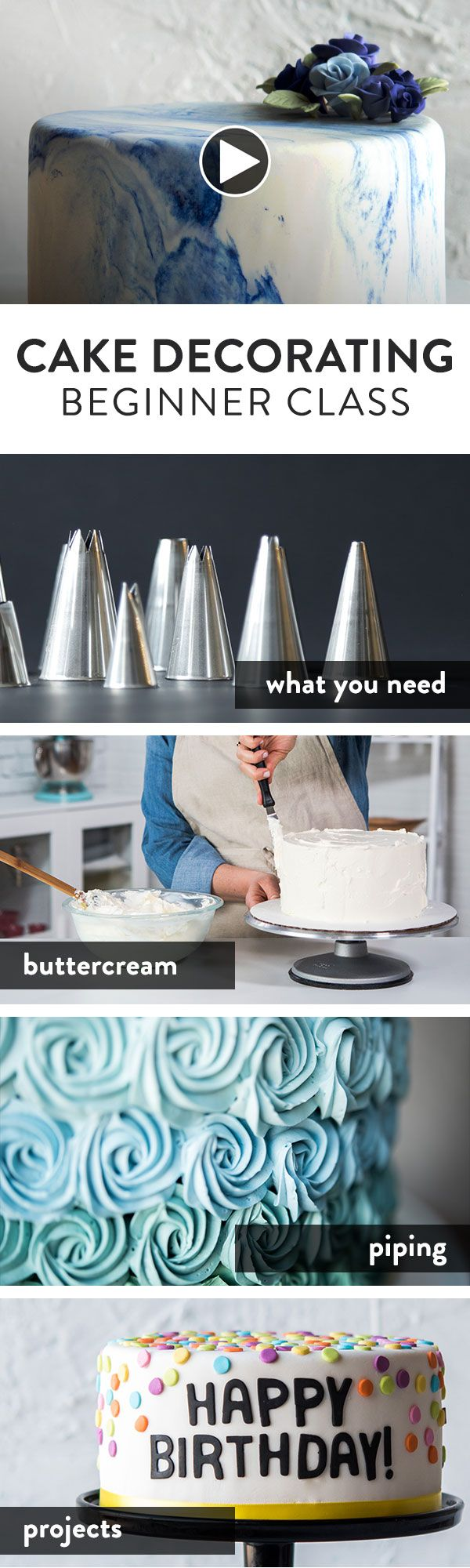 Everything you need to get started in beginner cake decorating.