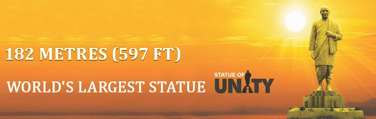 """Sardar Patel Monument also called as the """"Statue of Unity"""" which is about 182mts in height is in Gujarat state, INDIA.."""