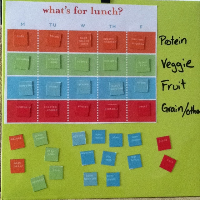Lunch menu, so my 7 year old can plan her lunches for the week. I found a template at Martha Stewart and just altered it to my needs. We'll see how it goes.
