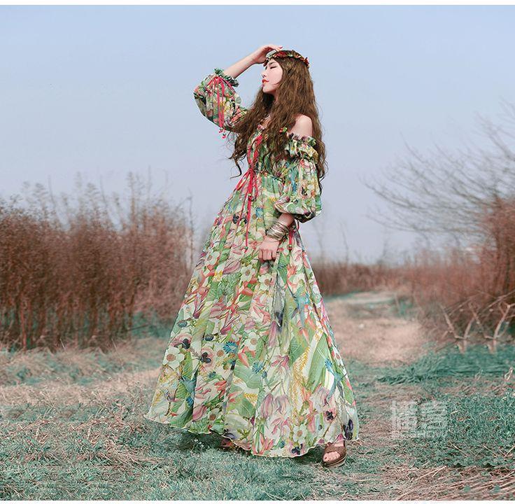Livraison gratuite 2016 nouvelle mode Boshow bohème printemps et en été en mousseline de soie fleur impression bustier longue Maxi femmes plage robe s xl dans Robes de Femmes de Vêtements et Accessoires sur AliExpress.com | Alibaba Group