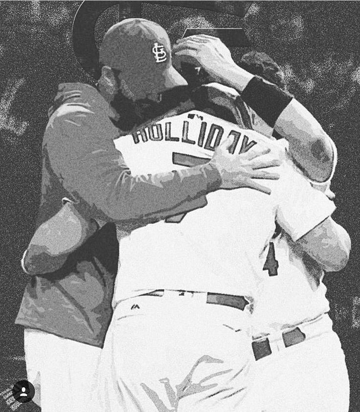 Adam and Yadi hug Matt after hitting his final home run as a Cardinal.