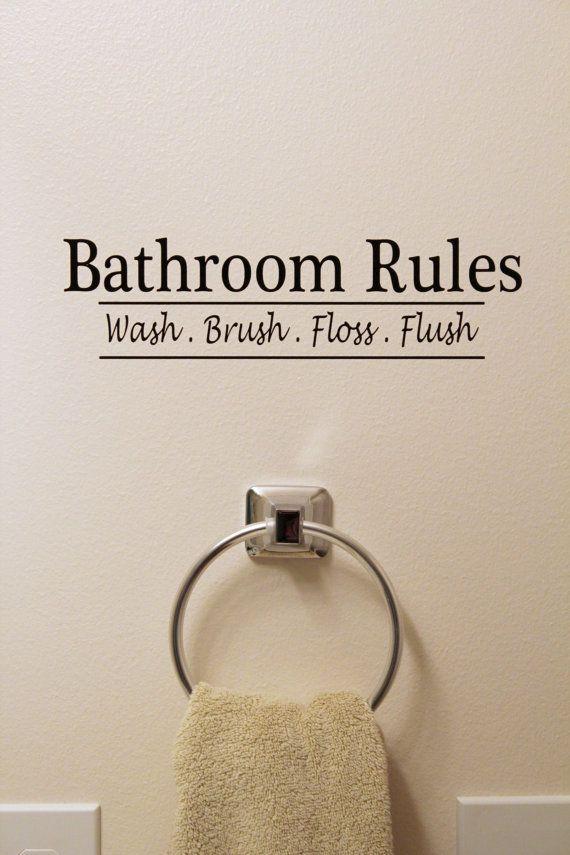Bathroom Rules  Vinyl Sign/Sticker via Etsy