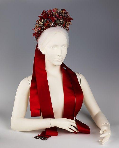 Headdress Date: fourth quarter 19th century Culture: German Medium: silk, cotton, glass