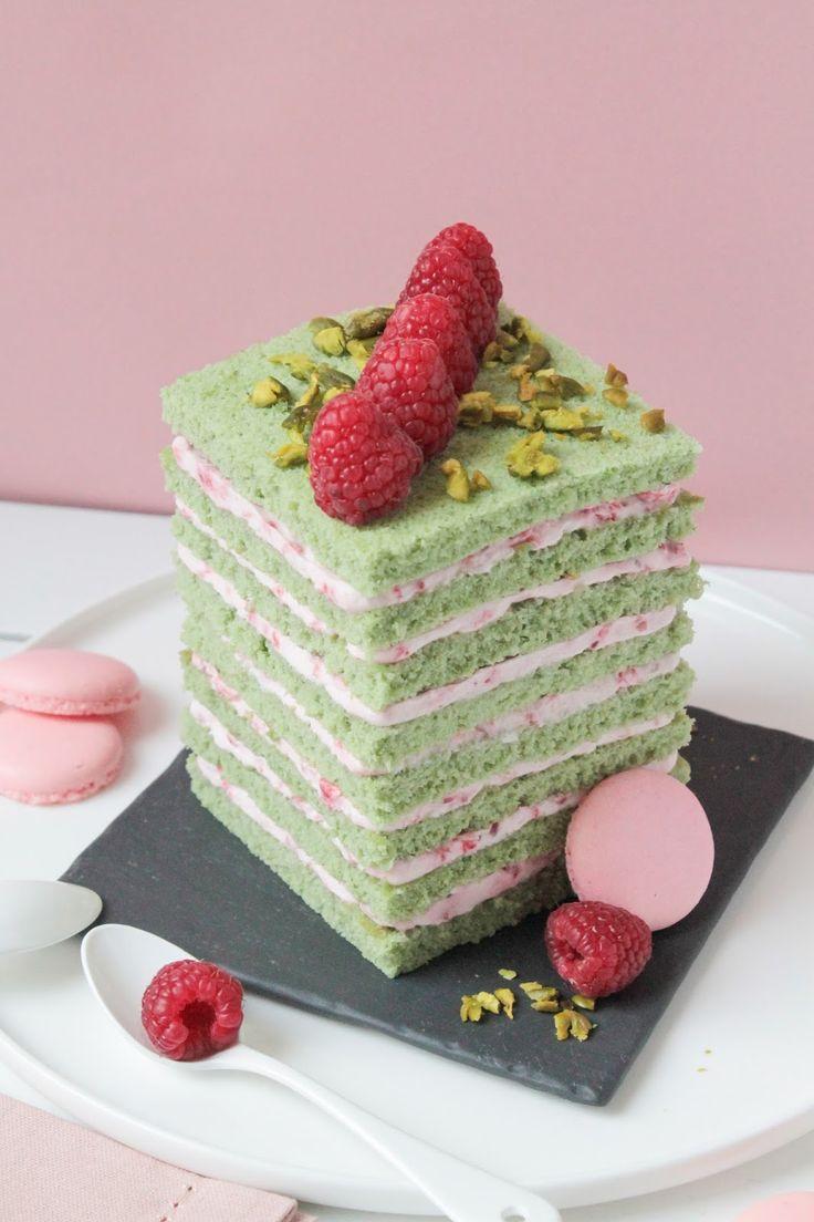 Pistachio cake with raspberry cream filling   Pistachio cake recipe. Pistachio cake filling. Opera cake