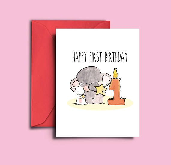 Printable 1 Year Old Boy Birthday Card 1 Year Old Girl Baby 1st Birthday Card Baby Elephant First First Birthday Cards 1st Birthday Cards Old Birthday Cards