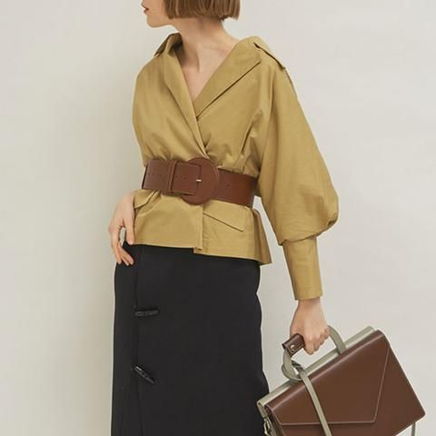 Jessica Coat, Black Middle-skirt, Coffee Leather Belt