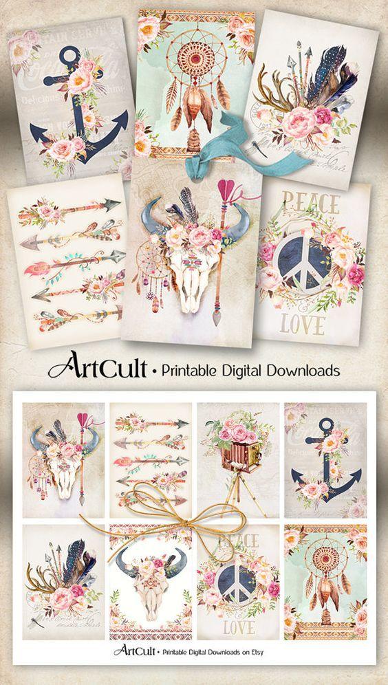 Druckbare Download BOHO CHIC TAGS digitale collage von ArtCult