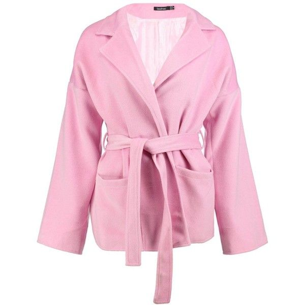 Boohoo Harriet Belted Robe Coat (36 CAD) ❤ liked on Polyvore featuring outerwear, coats, pink coat, pink raincoat, boohoo coats, wrap coat and pink duster coat