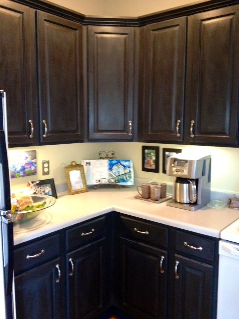131 best annie sloan chalk painted kitchens images on for Dark brown painted kitchen cabinets