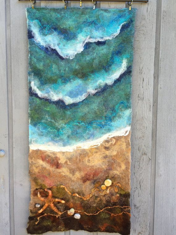 No.10 Beach Star  Wet Felted Wall Hanging by Deebs on Etsy (Art & Collectibles, Fiber Arts, Felting, felted, wet felted, wall hanging, fiber art, needlefelt, starfish, beach, nfest team)                                                                                                                                                                                 More