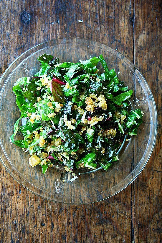 Swiss Chard Salad with Lemon, Parmesan & Breadcrumbs: Swiss Chard Has Never Tasted So Summery