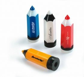 Promotional Products Ideas that work: Pencil-shaped pencil sharpener.  Get yours at www.luscangroup.com