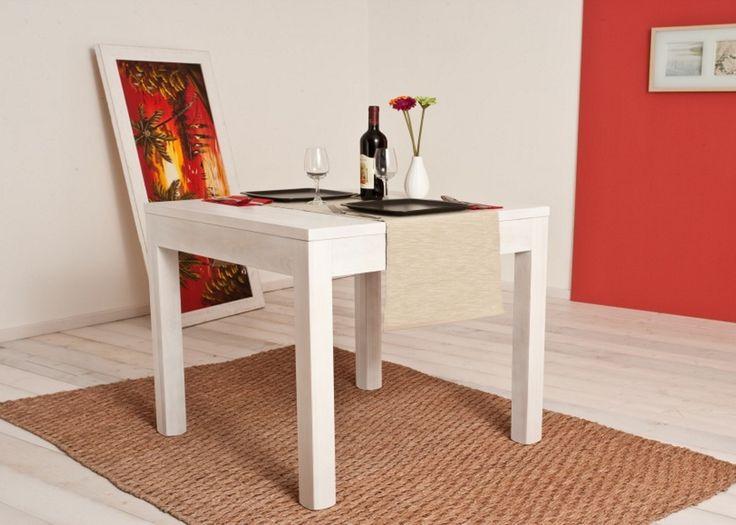 Table 150 Solid toulipier wood table coated with white aniline. Tavolo 150 Tavolo in legno toulipier massello tinto anilina bianca.