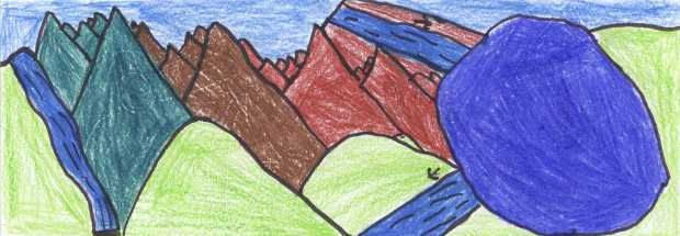 disegno con montagne, laghi, fiumi, colline...