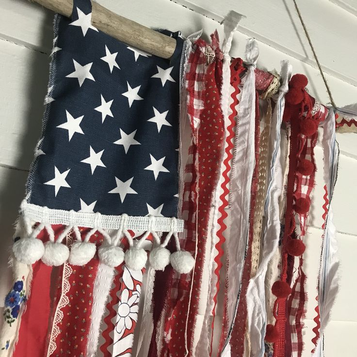 Whimsical patriotic rag flag handmade from upcycled fabric and trimming scraps