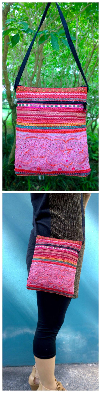 On Sale : Boho Embroidery Bag - Silk Crossbody bag - Hmong Tribal Bag - Bohemian Bag - Hipster Bag ( FREE SHIPPING WORLDWIDE )