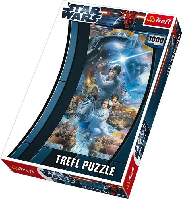 """Een uitdaging voor echte """"Star Wars"""" fans: 1000 puzzel stukjes vormen een uitgewerkt totaalbeeld met de helden van de succesvolste sciencefiction film aller tijden. De puzzel is geschikt voor een leeftijd vanaf 6 jaar. De """"Star Wars"""" puzzel heeft een afmeting van 48cm x 68cm.  - Base Toys Puzzel Star Wars 1000 delen"""