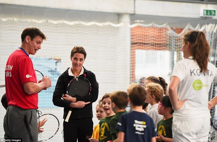 The Duchess of Cambridge talks to children and tennis player Johanna Konta (right) as she ...