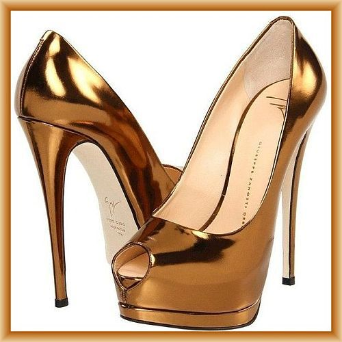 Giuseppe Zanotti Gold High Heeled Stiletto Pumps with platform