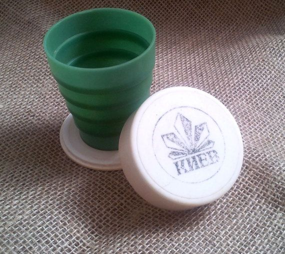 Folding plastic cup KIEV / USSR /Portable Shot Cup by SOVOK
