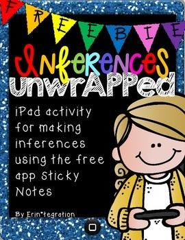 """~ FREE Inference UnwrAPPed! ~Easily integrate this low prep iPad app activity into your reading centers or whole group lesson. Students will use the free iPad app Sticky to add digital sticky notes to either a text passage or photo in the classroom with what they """"see,"""" """"know,"""" and """"infer"""" based on text clues or evidence."""