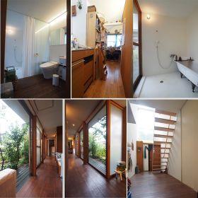 左上:トイレ+洗面 中上:キッチン 右上:風呂 左下:縁側のような廊下、窓は全て開きます。 右下:玄関