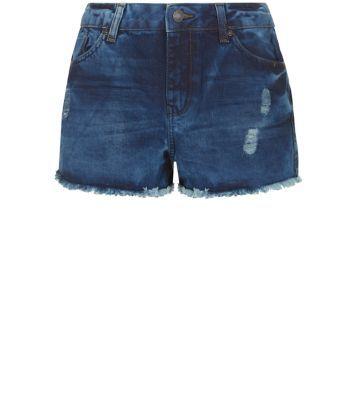 Navy Mottled Frayed Hem Shorts