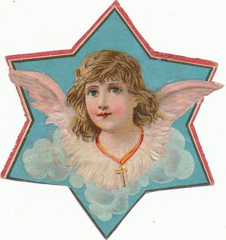 alte Oblate Glanzbild vermutl. um1900 Engel